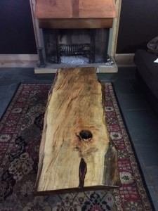 Coffee table made from recycled wood and surplus