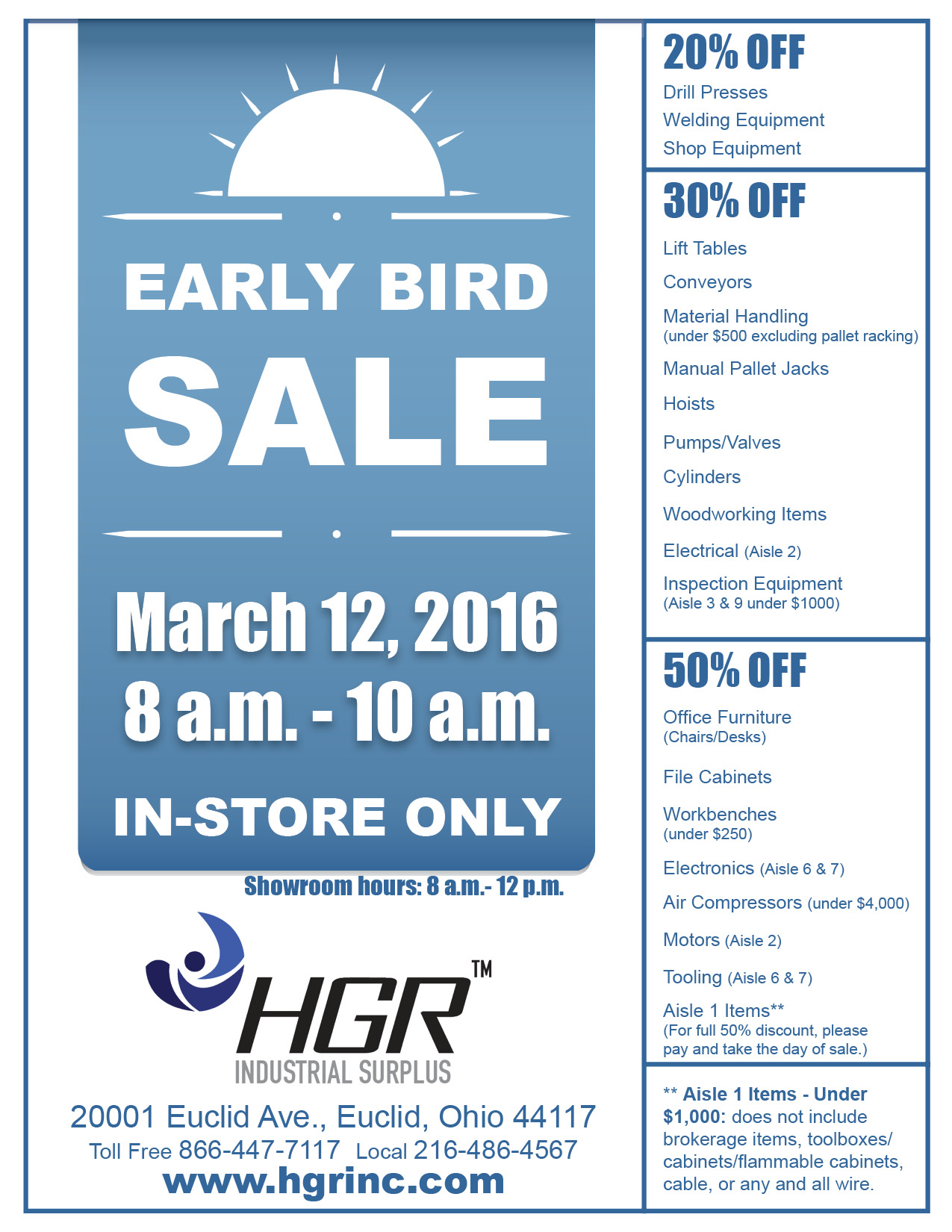 Early Bird Sale, Mar. 12
