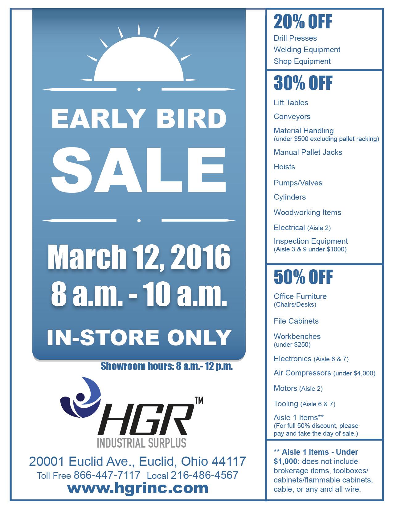 Early Bird Sale, März 12