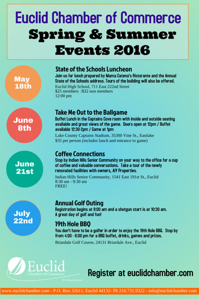 Euclid Chamber of Commerce Summer 2016 events