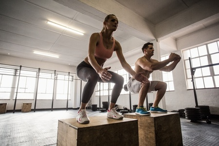 Man and women in fitness training