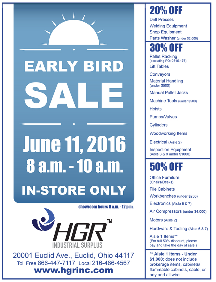 June 2016 HGR Industrial Surplus Early Bird Sale Flyer