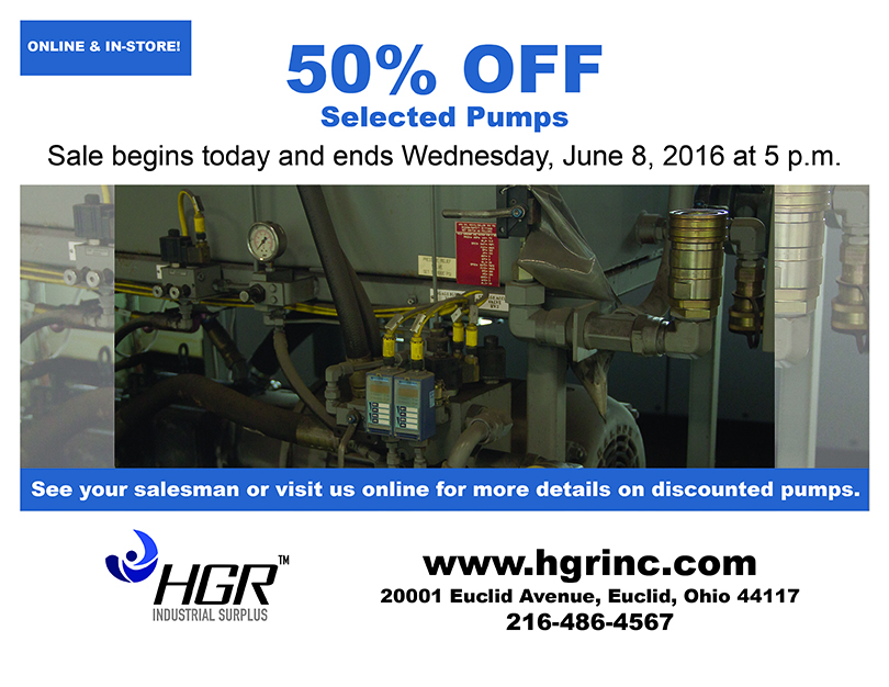June 2016 HGR Industrial Surplus pump sale flyer