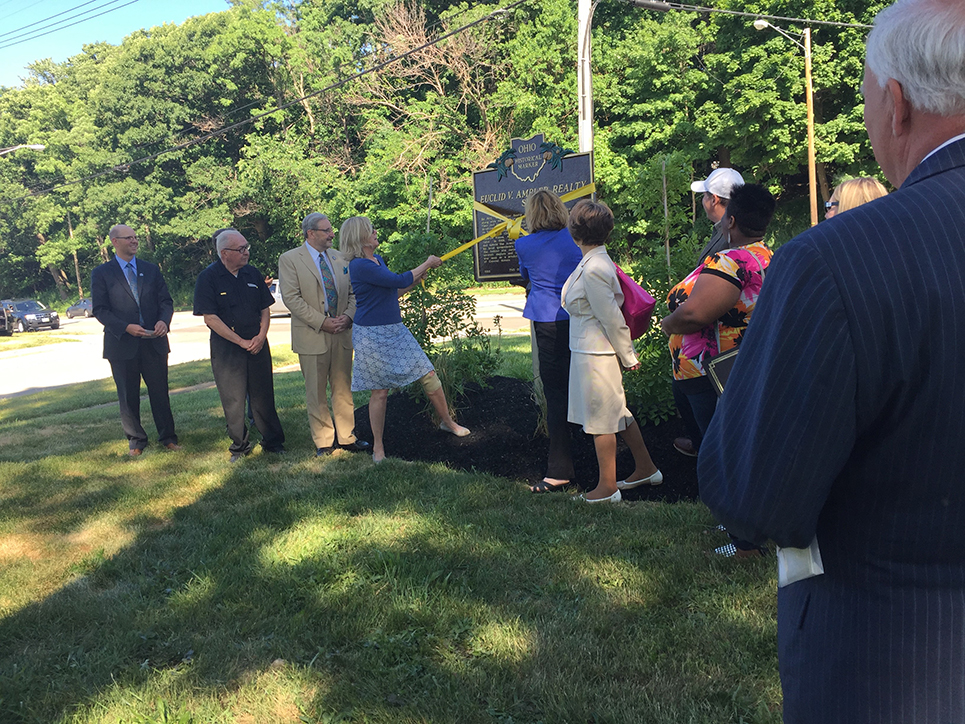 Historical marker ribbon cutting