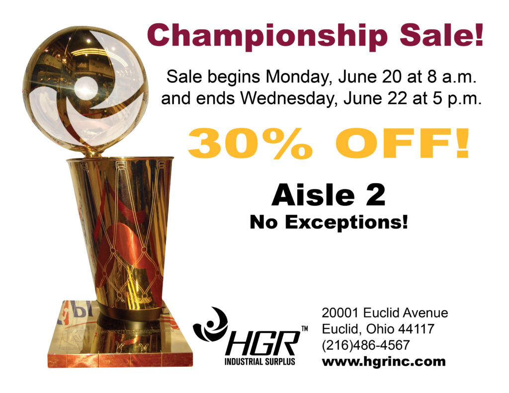 HGR Industrial Surplus championship sale flyer