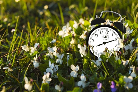 clock with flowers for summer hours
