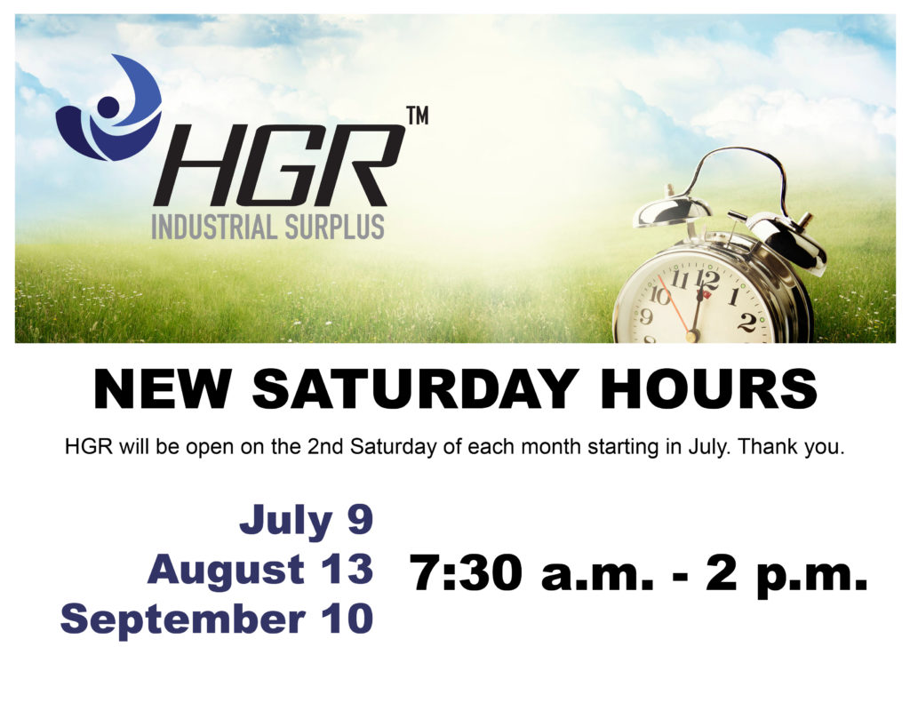 HGR Industrial Surplus new Saturday hours flyer