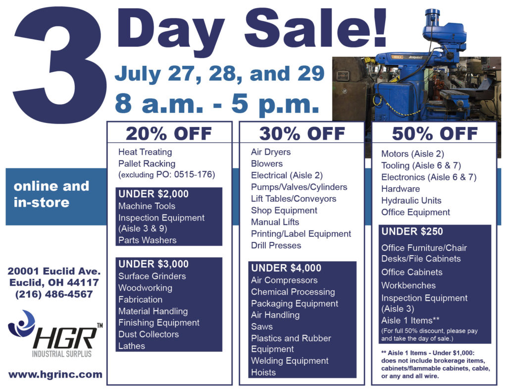 HGR Industrial Surplus 3-day-sale flyer