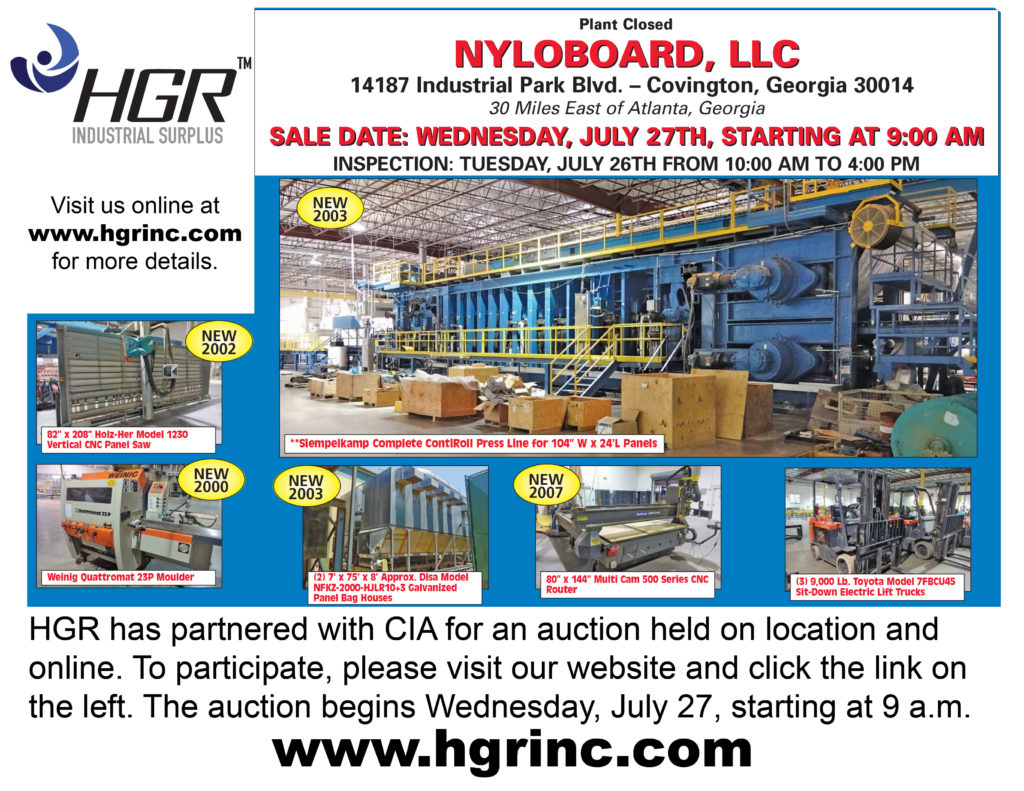 Cincinnati Industrial Auctioneers and HGR Industrial Surplus auction flyer