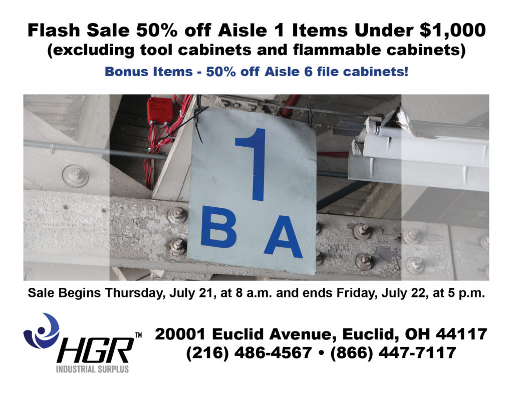 HGR Industrial Surplus July flash sale flyer