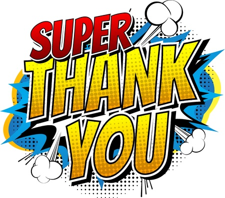 Comic-book-style superhero thank you