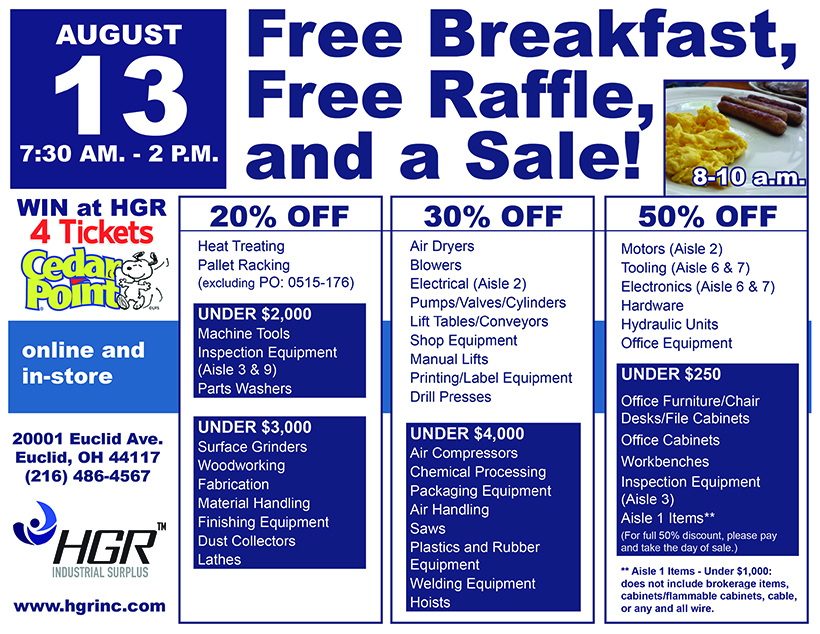 HGR's August 2016 Customer Appreciation Sale Flyer