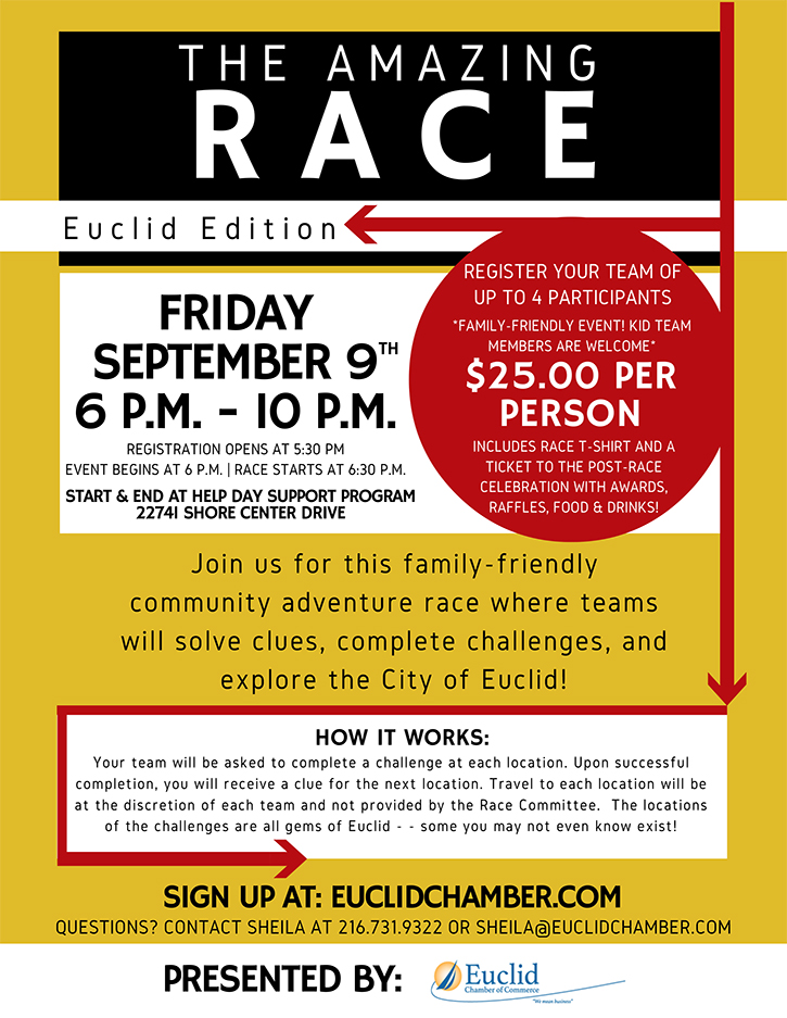 Euclid Chamber of Commerce Amazing Race flyer