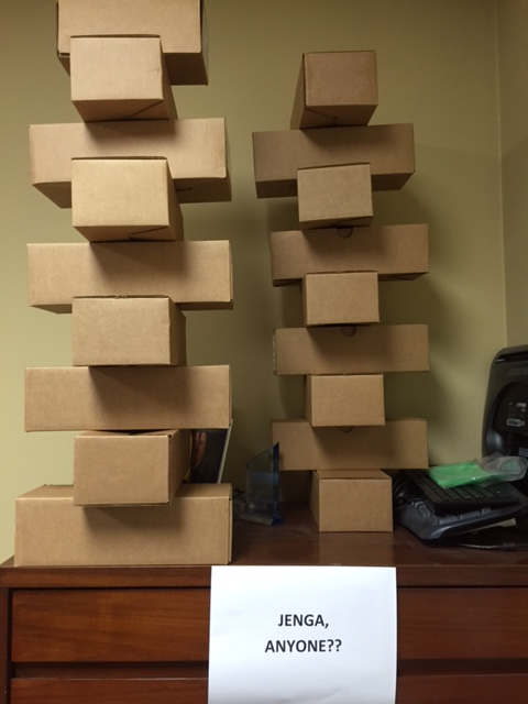 Jenga boxes in HGR office