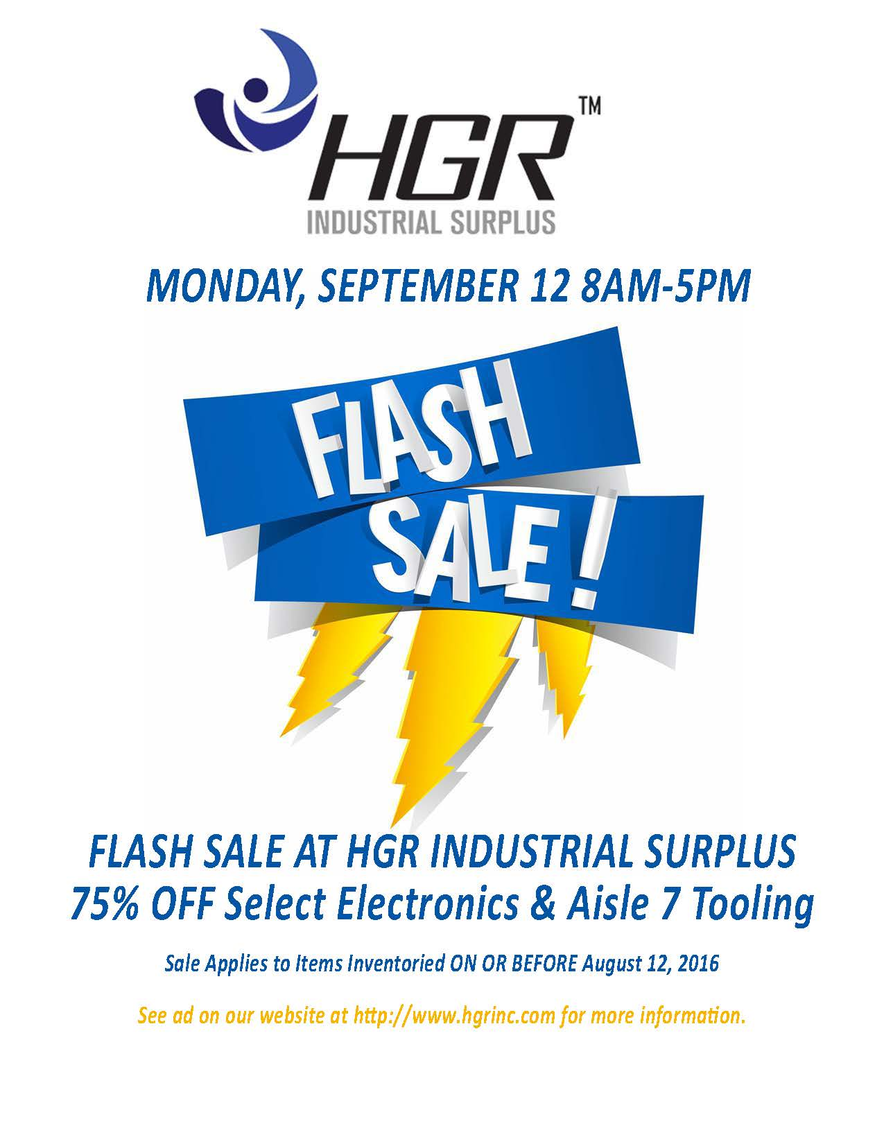 HGR Industrial Surplus flash sale flyer for Sept. 12