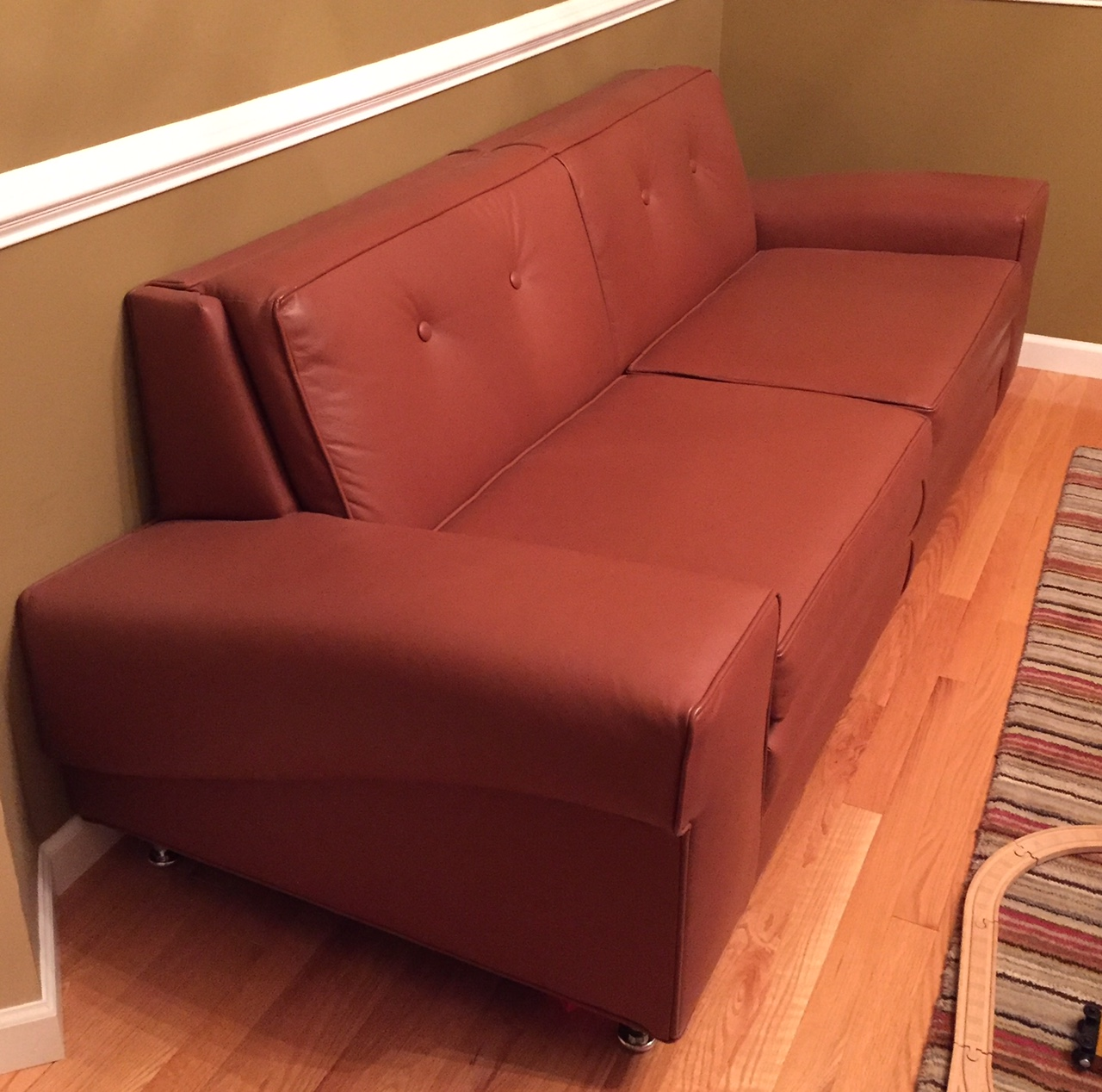 Euclid Heat Treating Leather Couch