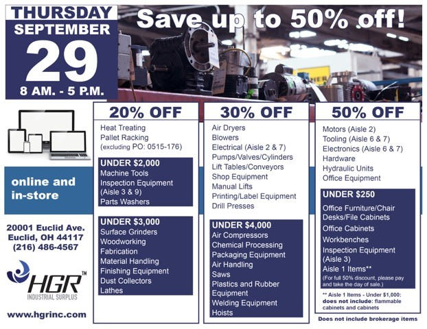 HGR month-end sale flyer