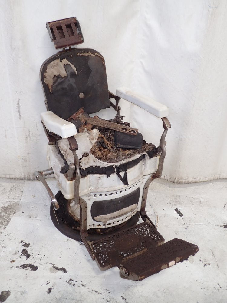 """Before"" photo of vintage barber chair prior to restoration"