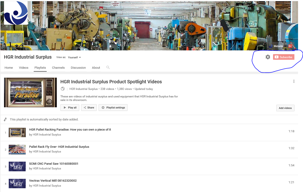 HGR Industrial Surplus' YouTube product spotlight video playlist