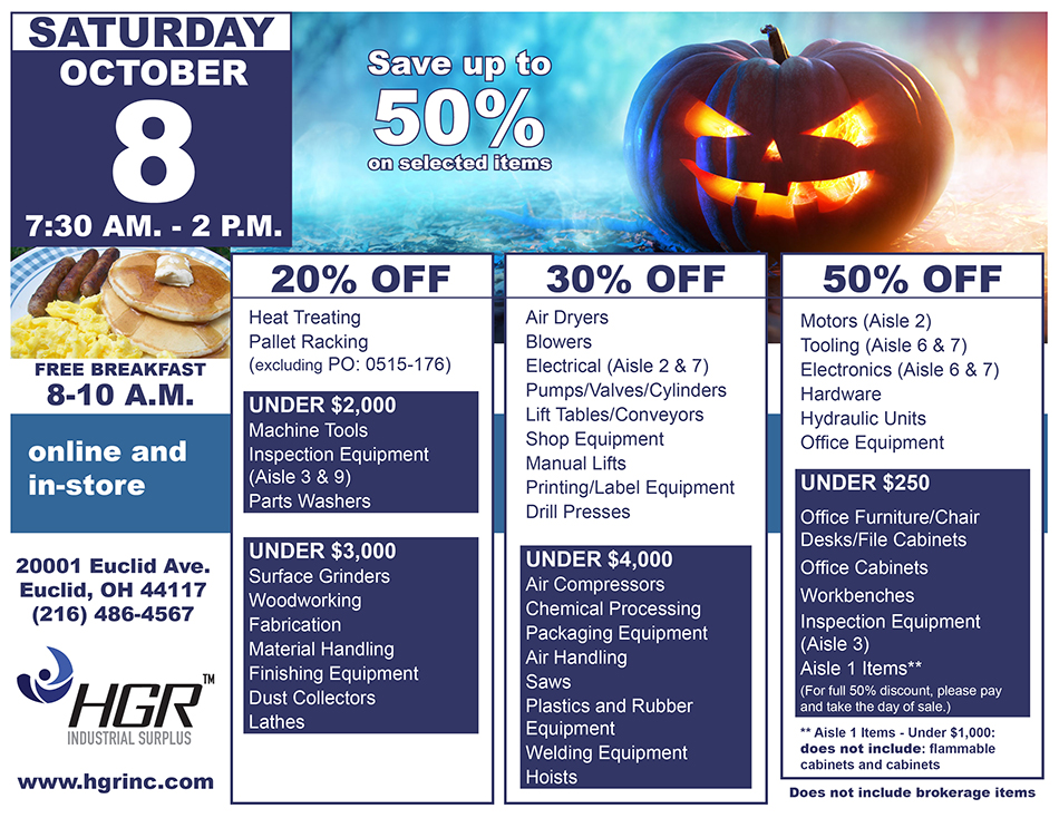 HGR Industrial Surplus October 2016 customer appreciation sale flyer