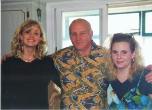 Monica Potter with her dad and sister
