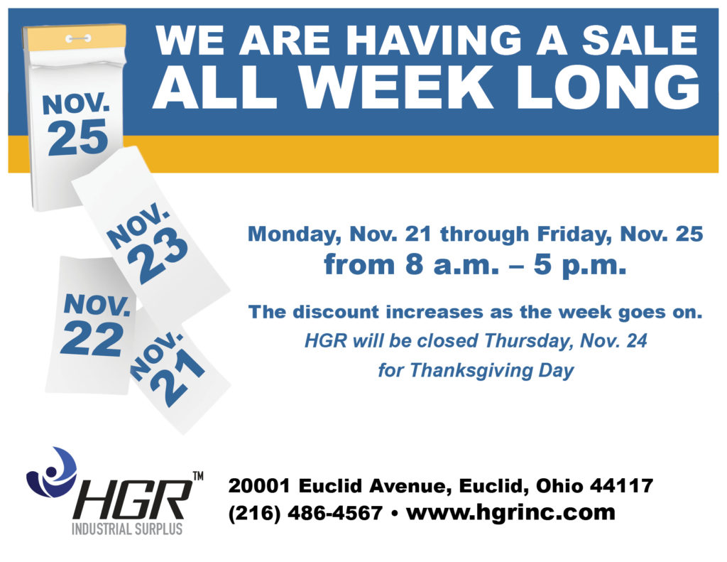 Thanksgiving week HGR progressive sale flyer
