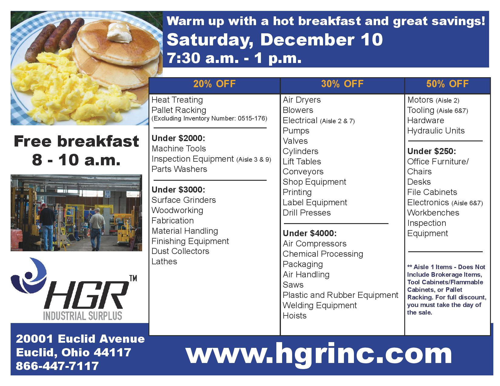 Saturday Dec. 10 HGR Industrial Surplus sale flyer