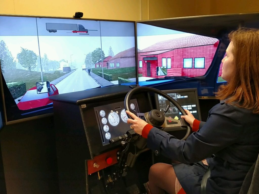 truck driving simulator at Cuyahoga Community College