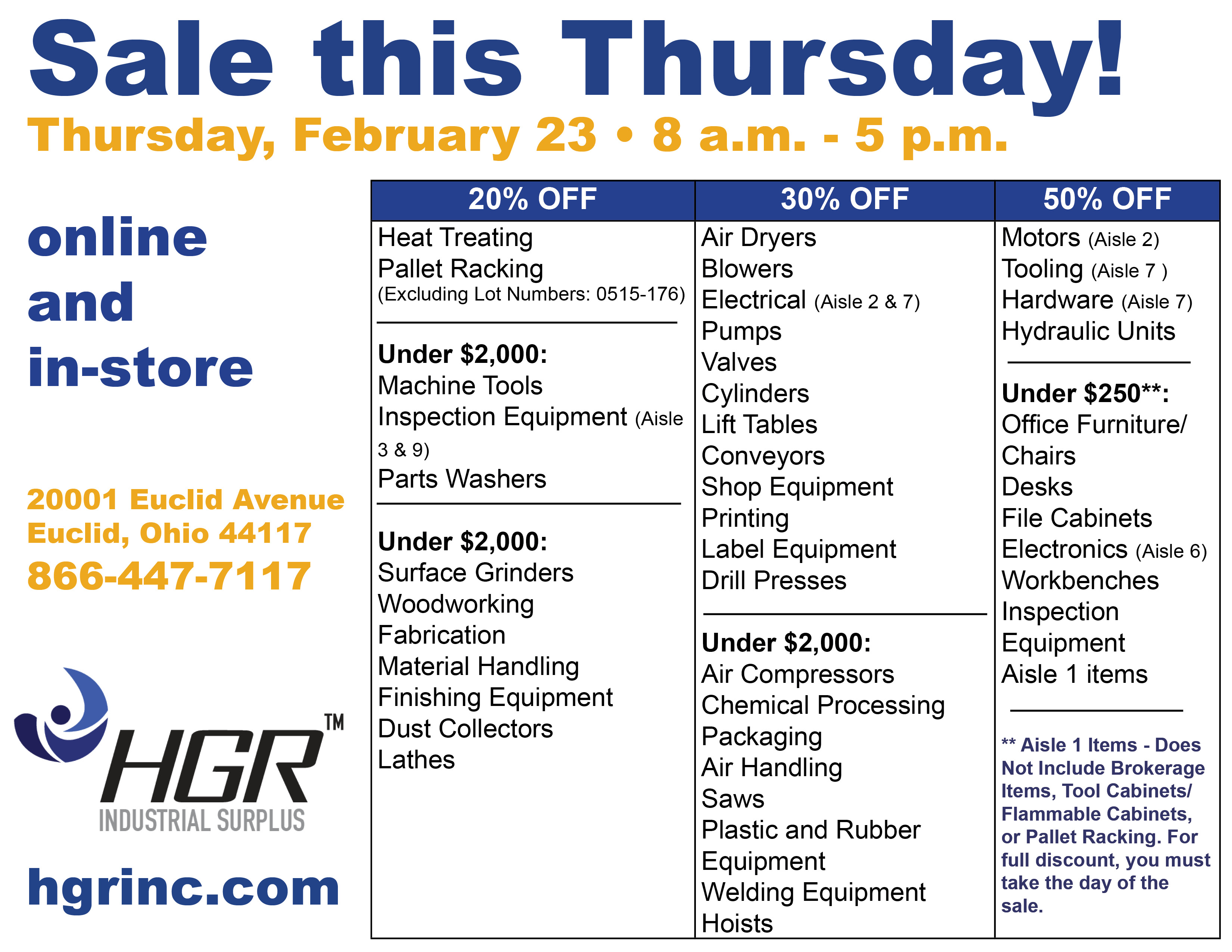 HGR February end-of-month sale flyer