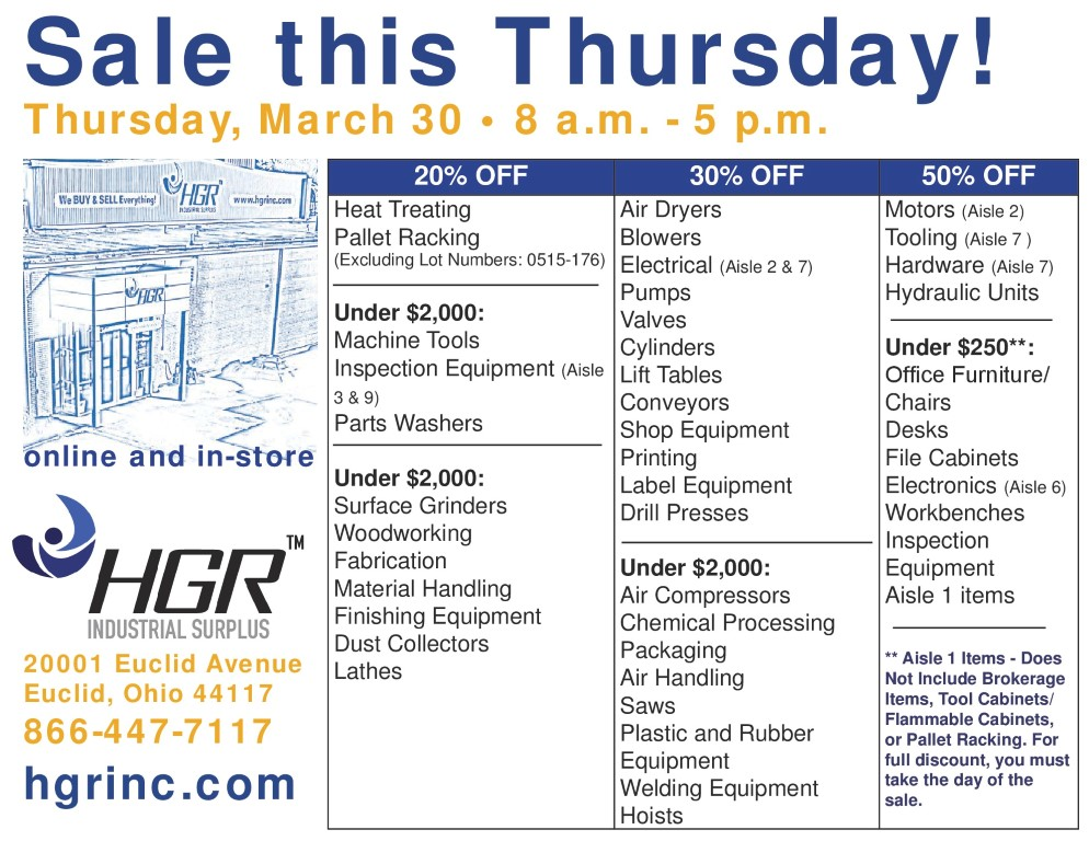 HGR Industrial Surplus March 30, 2017 sale flyer