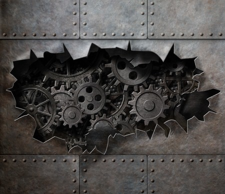 metal armour with rusty gears and cogs artwork