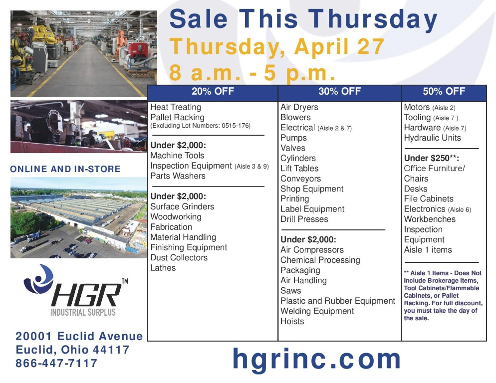HGR Industrial Surplus April 2017 end-of-month sale flyer