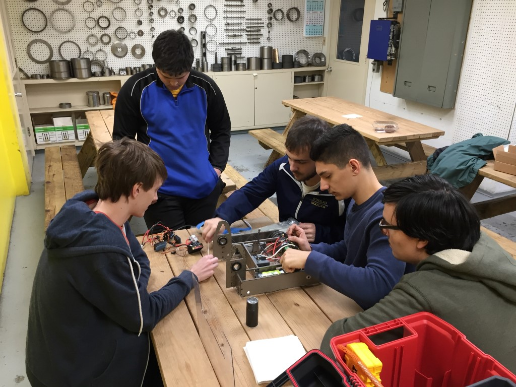 Euclid High School robotics team working on its battle bot