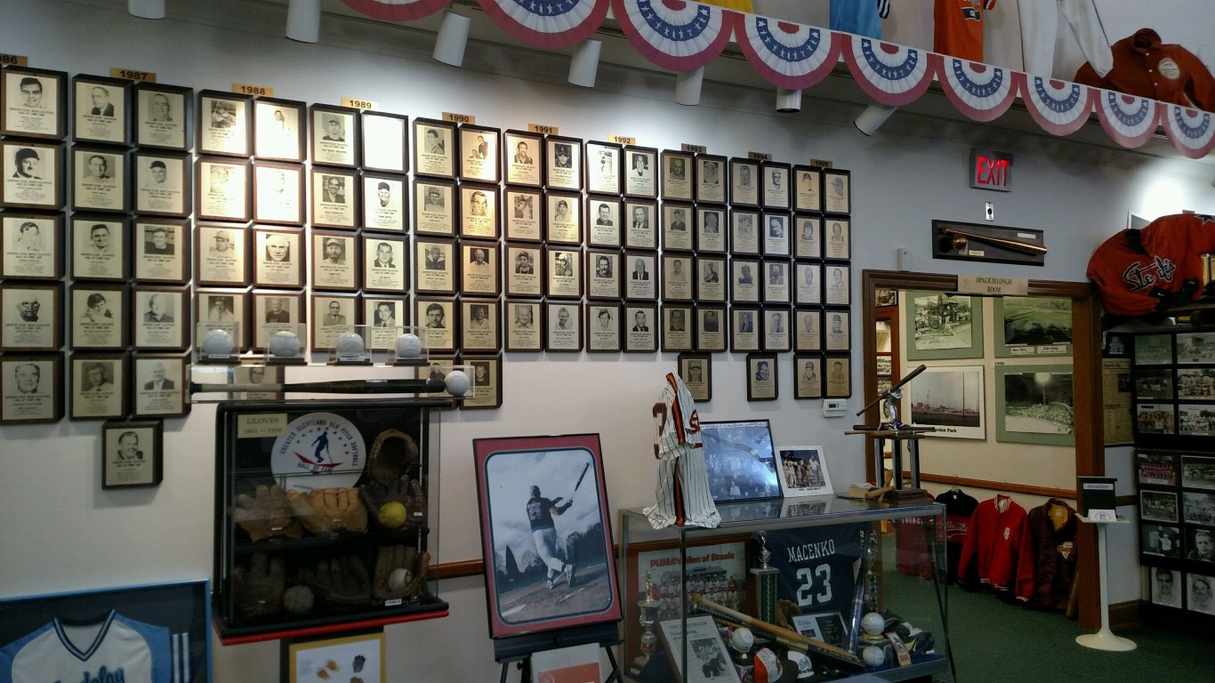 part of the Hall of Fame wall at the Slo-Pitch Softball Hall of Fame and Museum