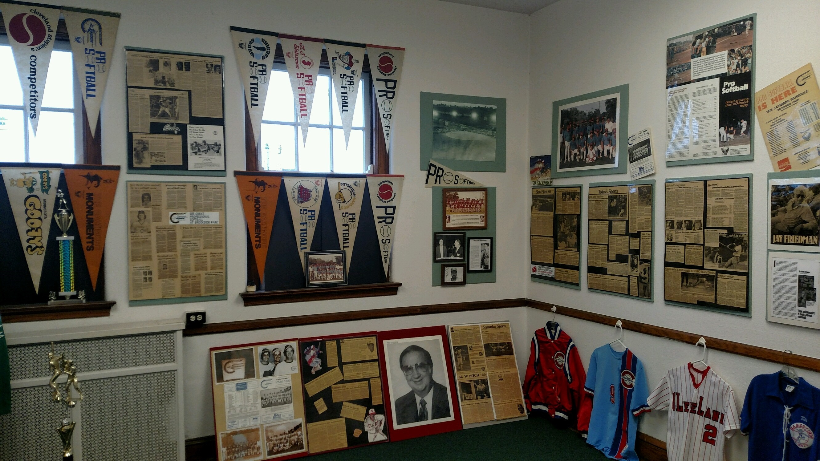 penants and shirts at the Slo-Pitch Hall of Fame and Museum