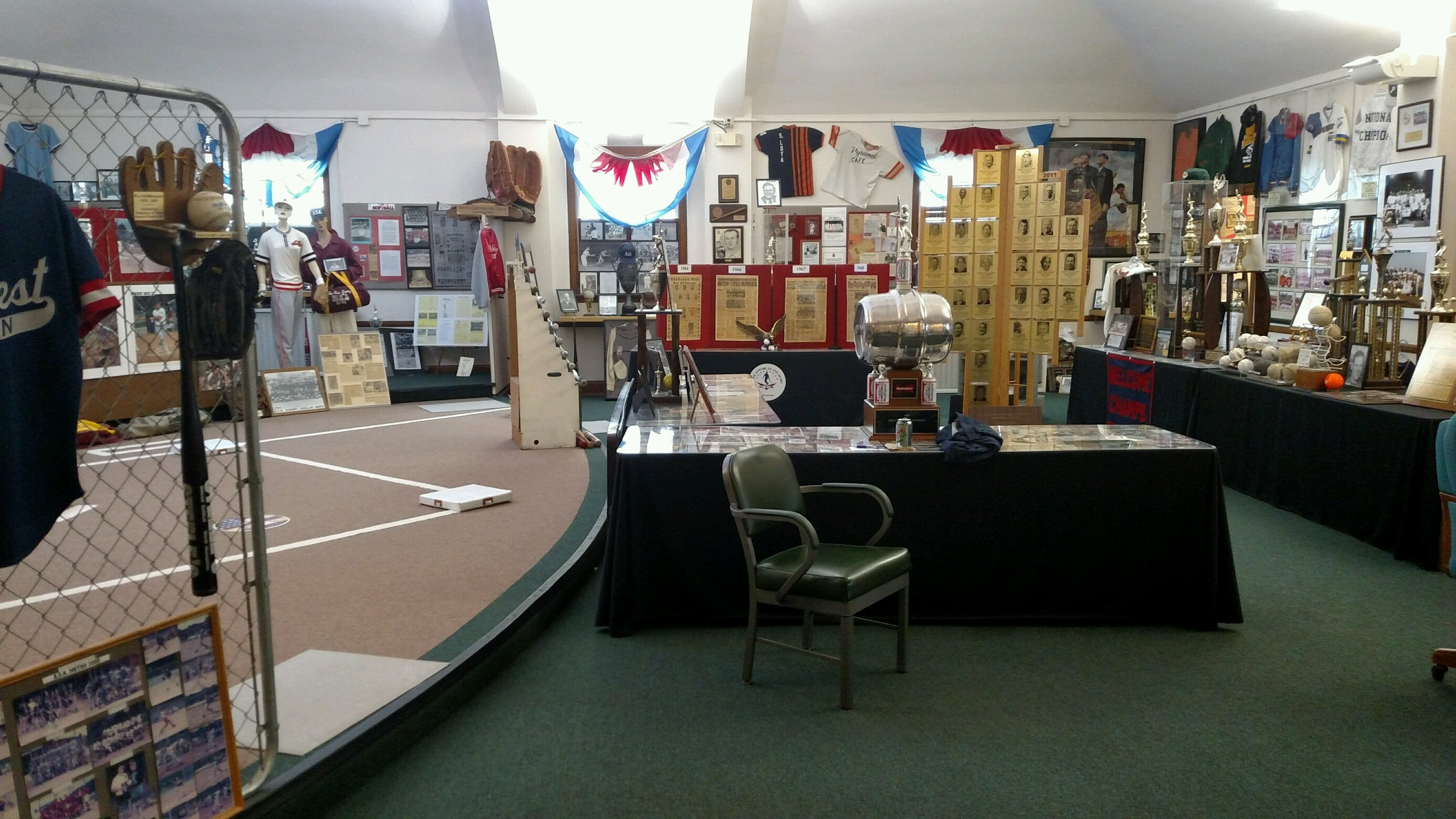 the main room at Slo-Pitch Softball Hall of Fame and Museum