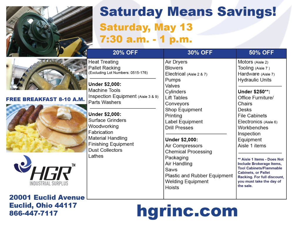 HGR's May 13, 2017 customer appreciation sale