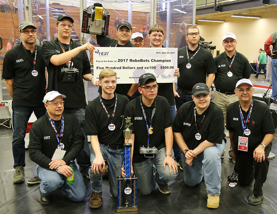 A-Tech Machinists winning $500 scholarship from HGR Industrial Surplus at 2017 AWT RoboBots