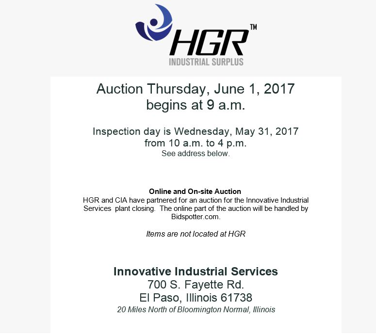 June 1, 2017 HGR auction