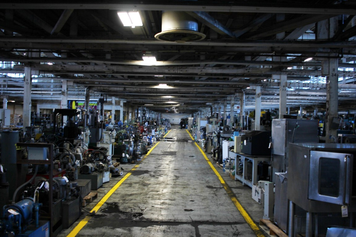 aisle of machines at HGR Industrial Surplus