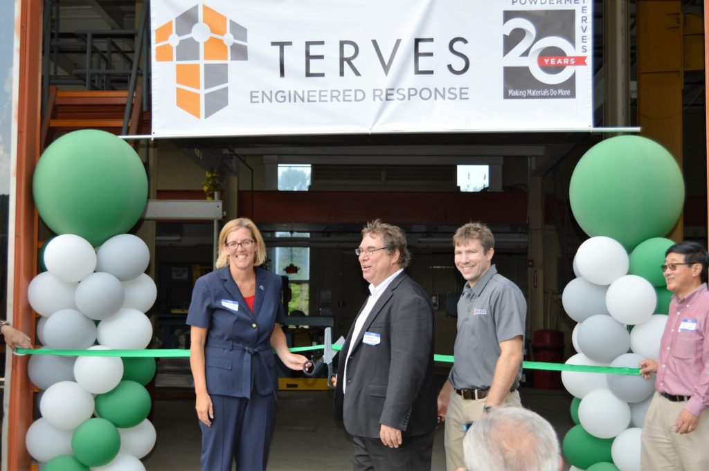 Euclid Mayor Holzheimer Gail with Terves CEO and COO at ribbon cutting