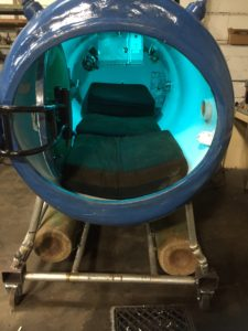inside of handmade hyperbaric chamber made from surplus at HGR Industrial Surplus