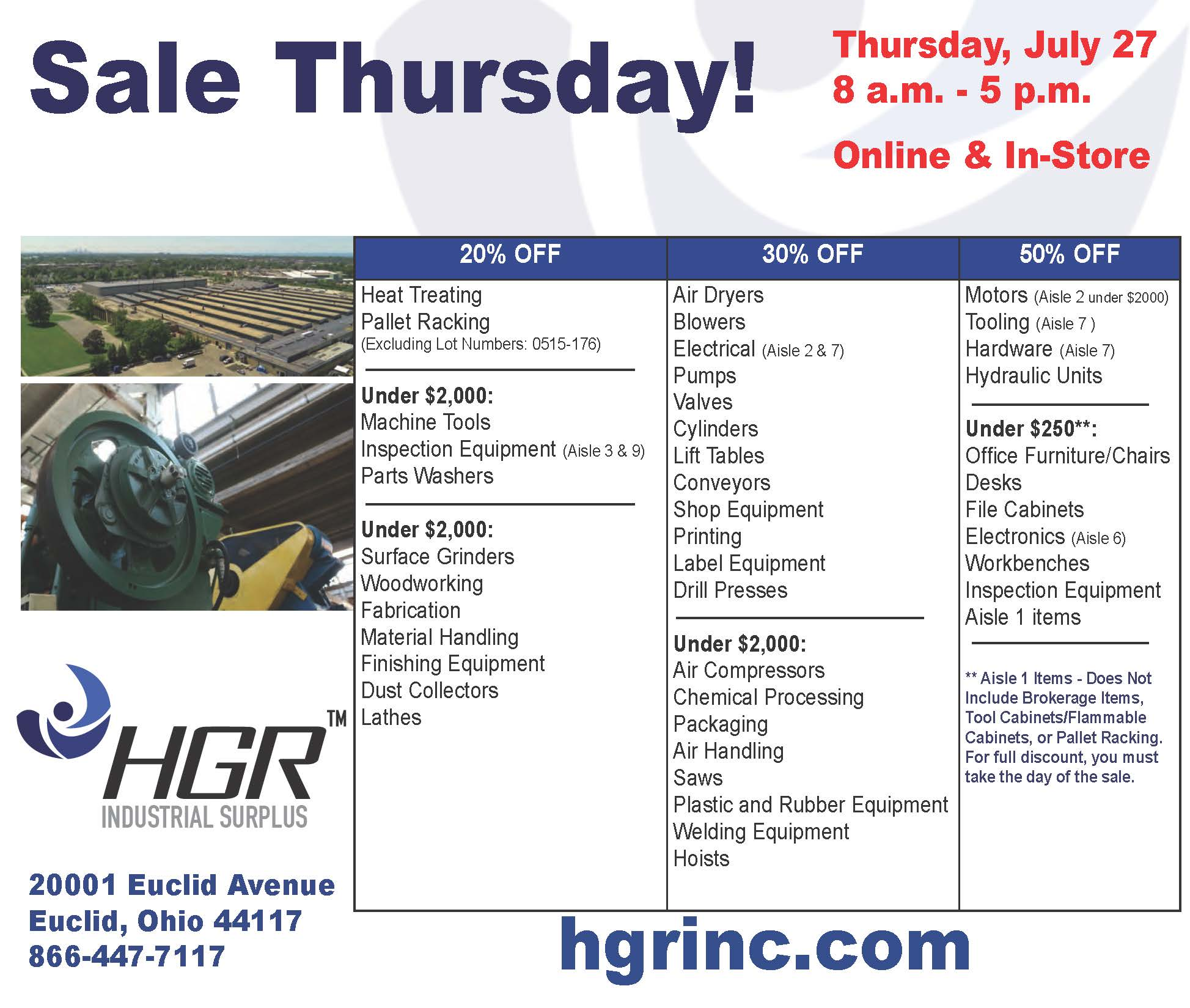July 27, 2017 HGR Industrial Surplus end-of-month sale flyer