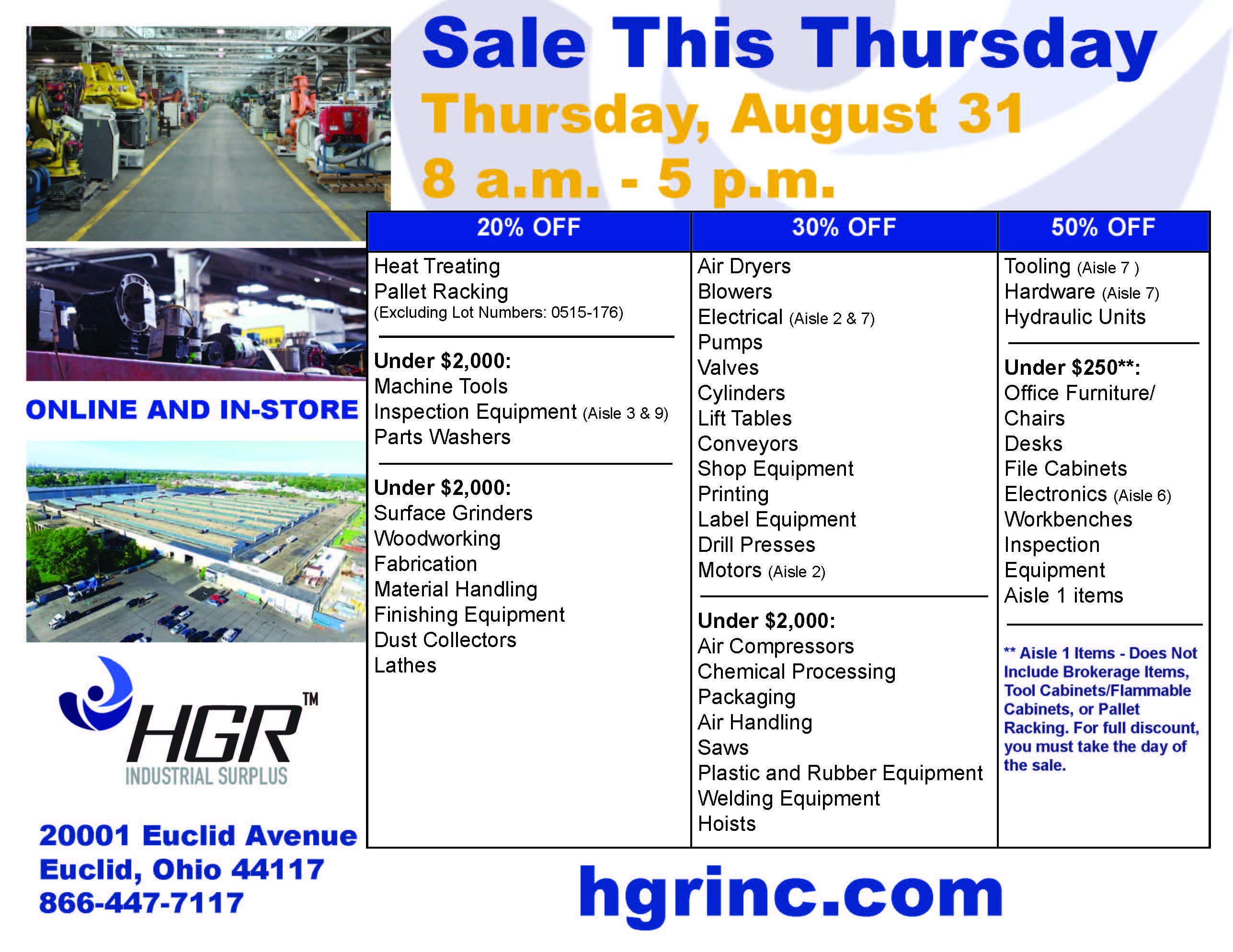 HGR Industrial Surplus Aug. 31, 2017 sale