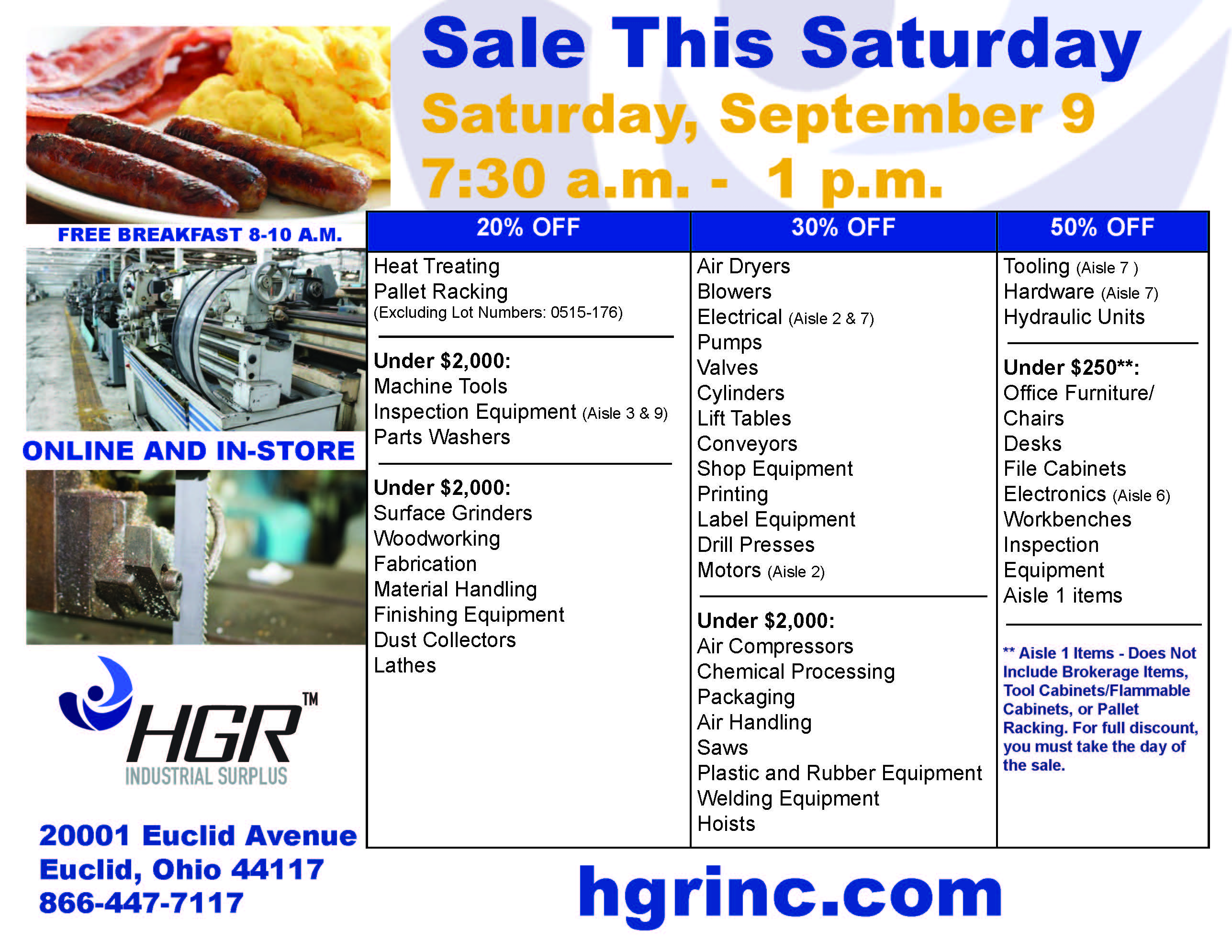HGR Industrial Surplus Sept. 9, 2017 Lørdag salg flyer