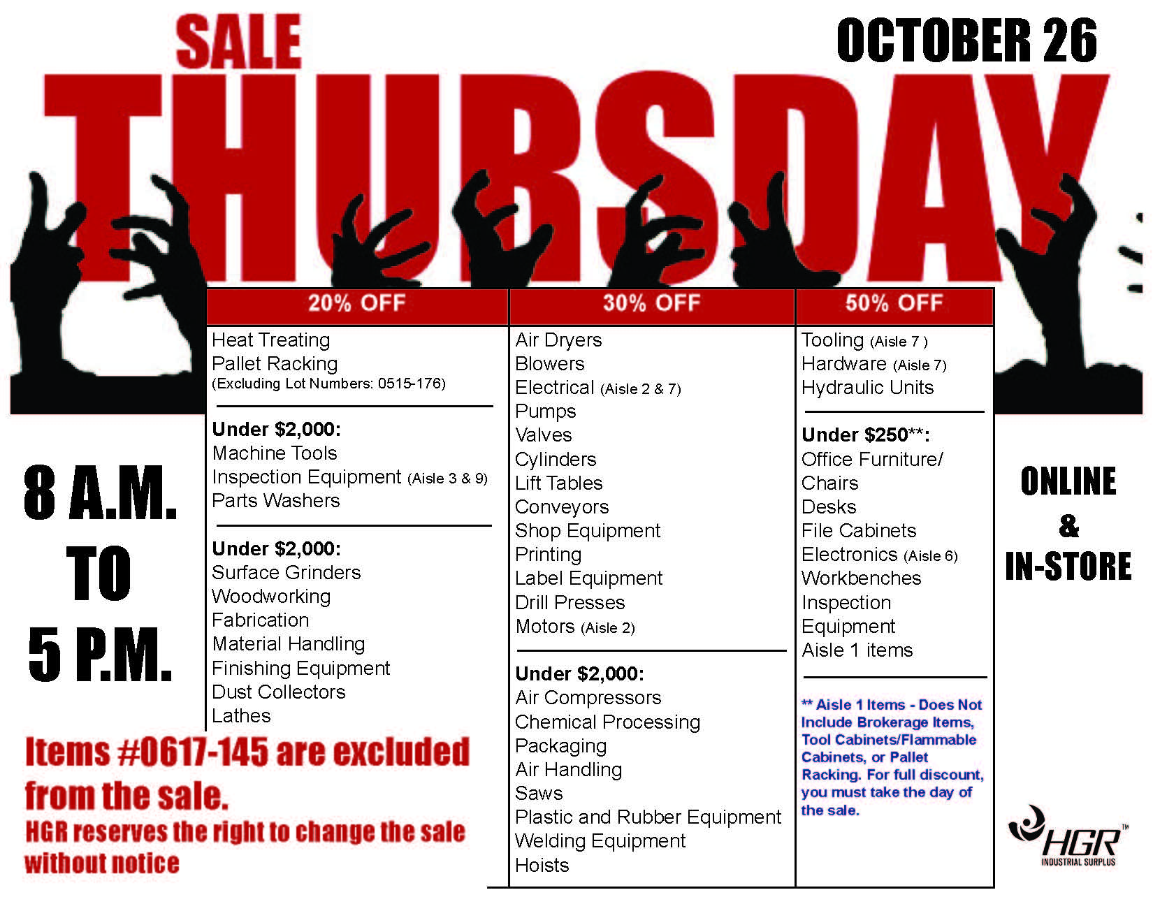 HGR Industrial Surplus month-end sale flyer October 2017