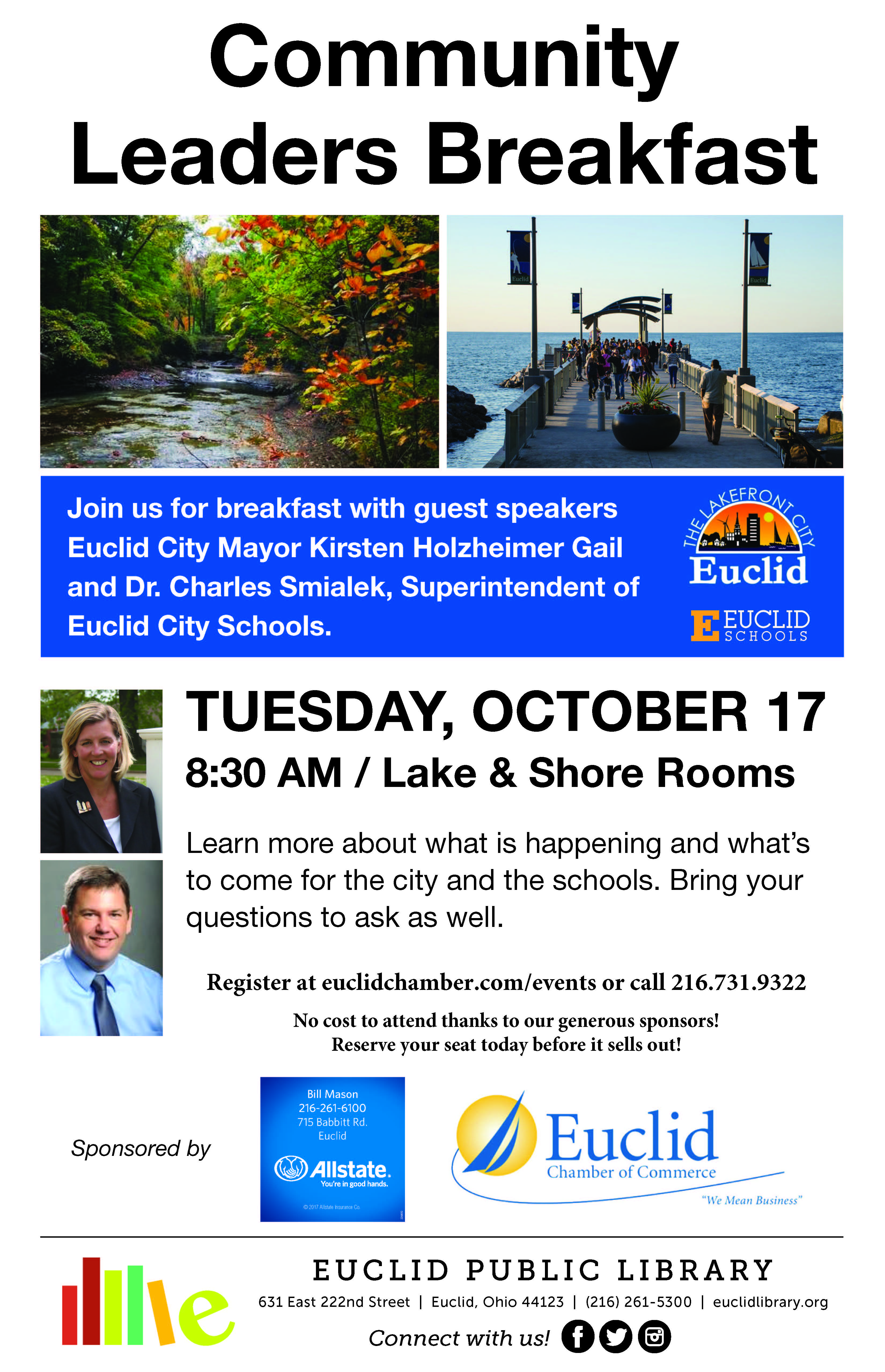 Euclid Chamber of Commerce community leaders breakfast flyer