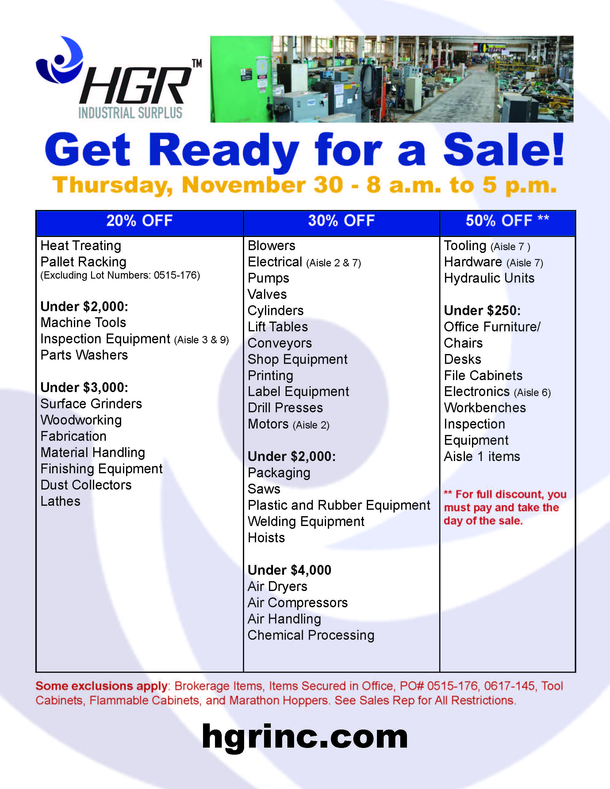 November 30, 2017 HGR Industrial Surplus month-end sale flyer