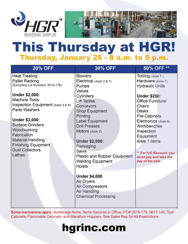 January 2018 HGR Industrial Surplus month-end sale flyer