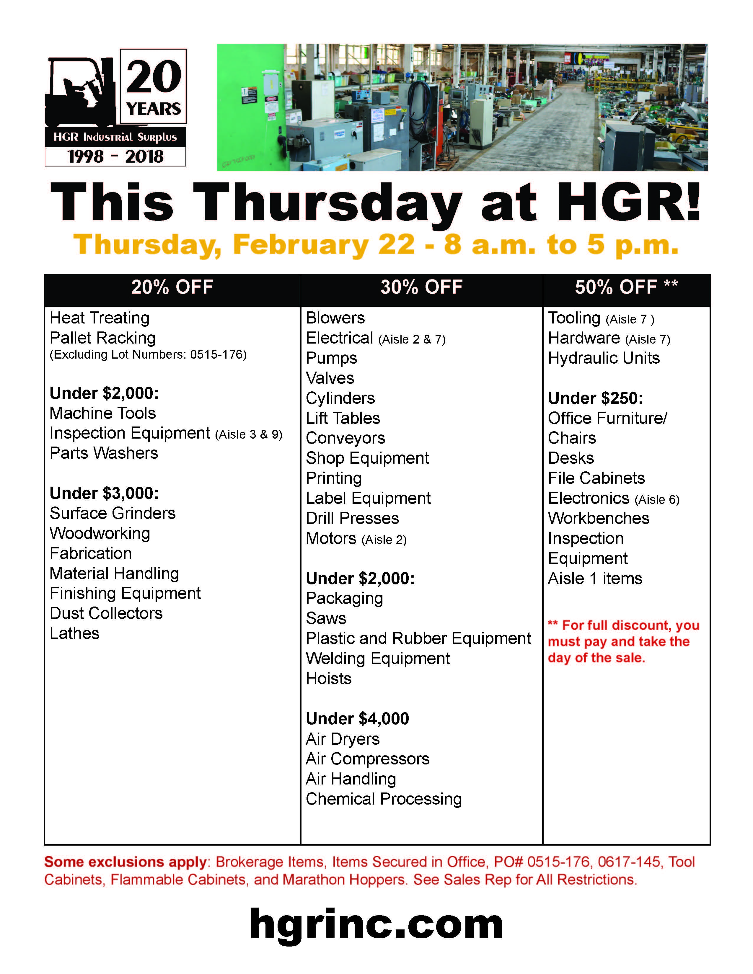 HGR Industrial Surplus February 2018 sale flyer